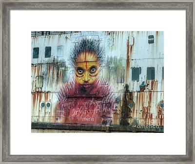 Ship Graffiti Framed Print by Adrian Evans
