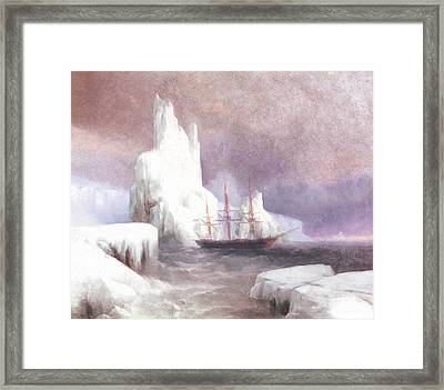 Ship In Winter Framed Print by Georgiana Romanovna