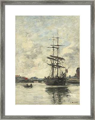 Ship On The Touques Framed Print by Eugene Boudin