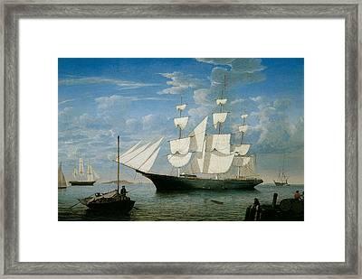 Ship Star Light In Boston Harbor Framed Print by Fitz Hugh Lane