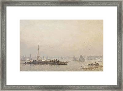 Shipping Activities On The Maas In Morning Haze Framed Print by MotionAge Designs