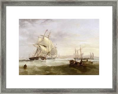 Shipping Off Hartlepool Framed Print by John Wilson Carmichael