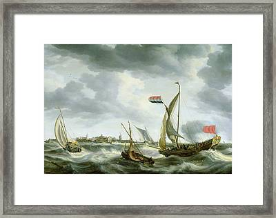 Ships At Sea  Framed Print by Bonaventura Peeters