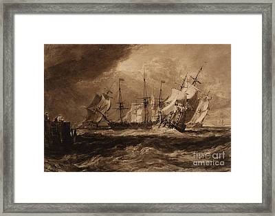 Ships In A Breeze Framed Print by Joseph Mallord