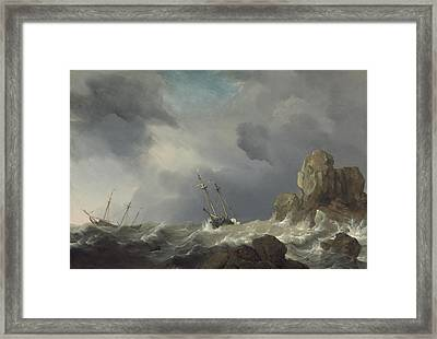 Ships In A Gale Framed Print by Willem Van De Velde The Younger