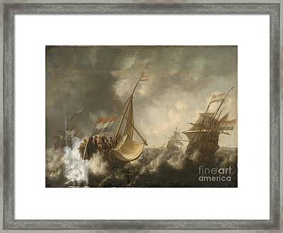 Ships In A Storm  Framed Print by Jacob