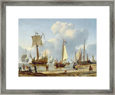 Ships In Calm Water With Figures By The Shore Framed Print by Abraham Storck