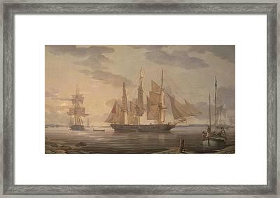 Ships In Harbor Framed Print by Robert Salmon