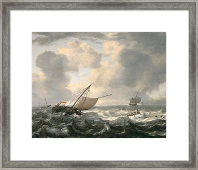 Ships On A Choppy Sea Framed Print by Hendrik van Anthonissen