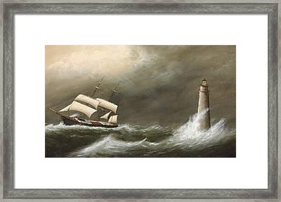 Ships Passing Minot's Light Framed Print by Clement Drew