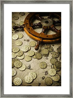 Ships Wheel And Gold Coins Framed Print by Garry Gay