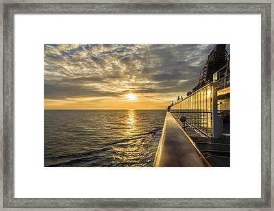 Shipside Sunset Framed Print by Bill Tiepelman