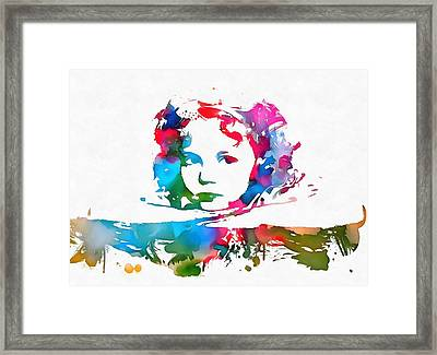 Shirley Temple Watercolor Paint Splatter Framed Print by Dan Sproul