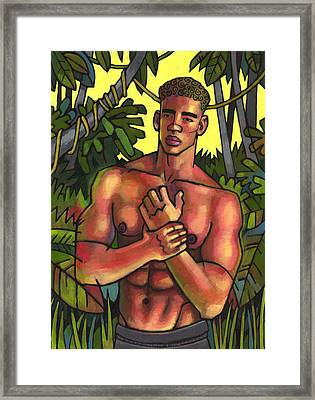 Shirtless In The Jungle Framed Print by Douglas Simonson