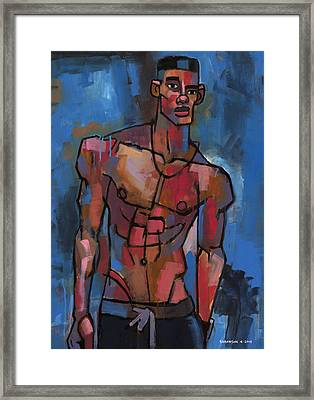 Shirtless With Blue Background Framed Print by Douglas Simonson