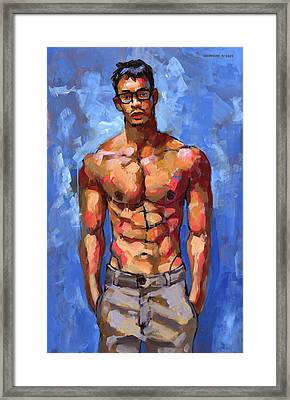 Shirtless With Glasses Framed Print by Douglas Simonson