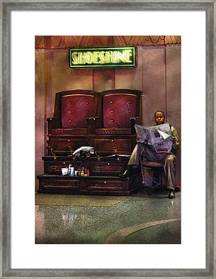 Shoes - Lee's Shoe Shine Stand Framed Print by Mike Savad