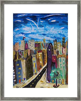 Shooting Stars Over Old City Framed Print by Mary Carol Williams