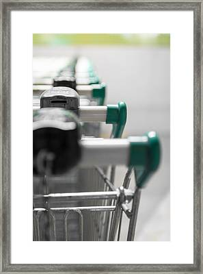 Shopping Carts Framed Print by Germano Poli