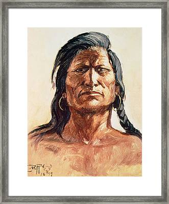 Shoshone Tribesman Framed Print by Charles Marion Russell