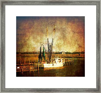 Shrimp Boat In Charleston Framed Print by Susanne Van Hulst