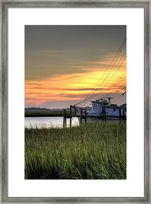 Shrimp Boat Sunset Framed Print by Dustin K Ryan