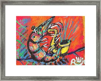 Shrimp On Sax Framed Print by Robert Wolverton Jr