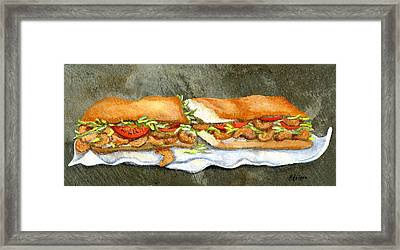 Shrimp Po Boy Framed Print by Elaine Hodges