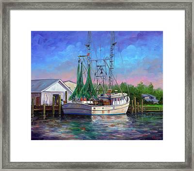 Shrimper At Harbor Framed Print by Jeff Pittman