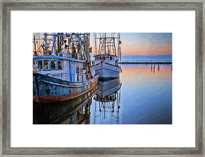 Shrimpers On Pensacola Bay Framed Print by JC Findley