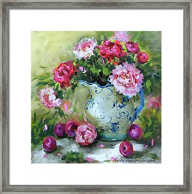 Shy Plums And Pink Peonies Framed Print by Nancy Medina