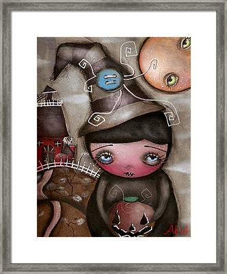 Shy Witch Framed Print by  Abril Andrade Griffith