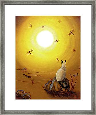Siamese Cat With Red Dragonflies Framed Print by Laura Iverson