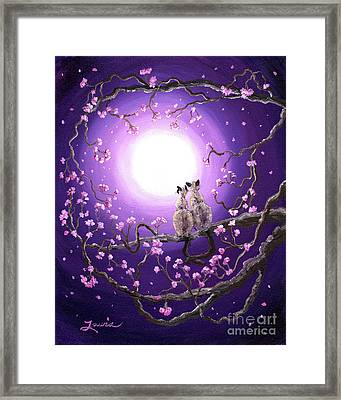 Siamese Cats In Pink Blossoms Framed Print by Laura Iverson