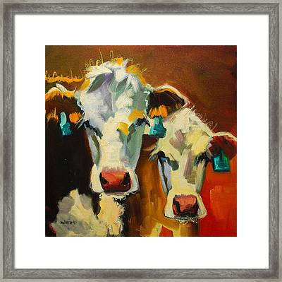 Sibling Cows Framed Print by Diane Whitehead