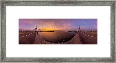 Sidney Lanier Bridge Twilight Panorama Framed Print by Chris Bordeleau