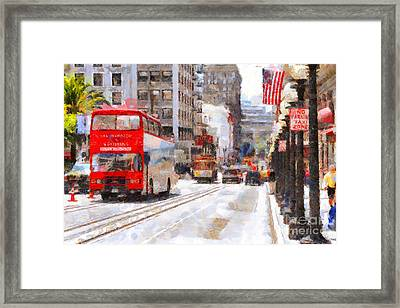 Sightseeing Along Powell Street In San Francisco California . 7d7269 Framed Print by Wingsdomain Art and Photography