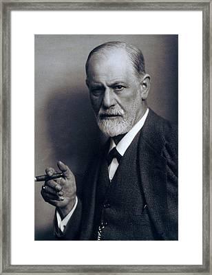 Sigmund Freud 1856-1939 Smoking Cigar Framed Print by Everett