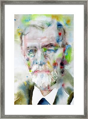 Sigmund Freud - Watercolor Portrait.11 Framed Print by Fabrizio Cassetta