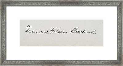 Signature Of Frances Clara Folsom Framed Print by Vintage Design Pics