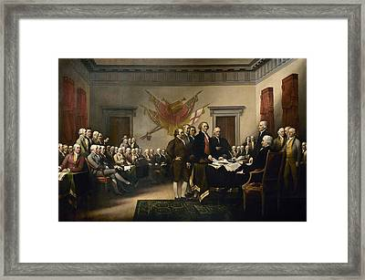 Signing The Declaration Of Independance Framed Print by War Is Hell Store