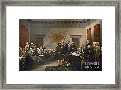 Signing The Declaration Of Independence, July 4th, 1776 Framed Print by John Trumbull