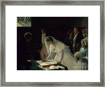 Signing The Register Framed Print by Edmund Blair Leighton
