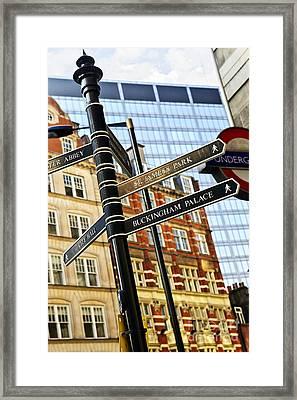 Signpost In London Framed Print by Elena Elisseeva