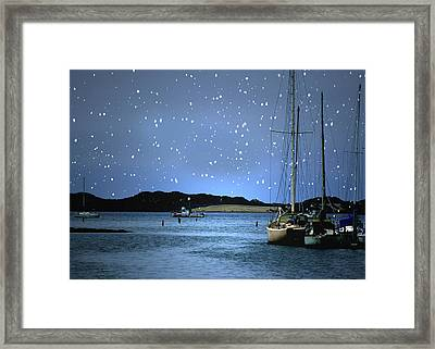 Silent Night Harbor Framed Print by Stephanie Laird