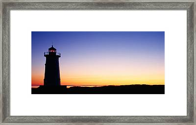 Silhouette Of A Lighthouse, Edgartown Framed Print by Panoramic Images