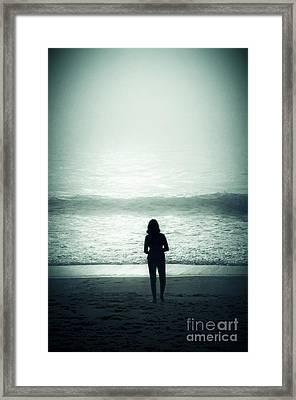 Silhouette On The Beach Framed Print by Carlos Caetano