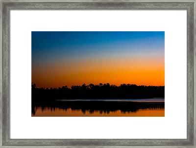 Silhouetted Trees At Sunset Framed Print by Shelby  Young