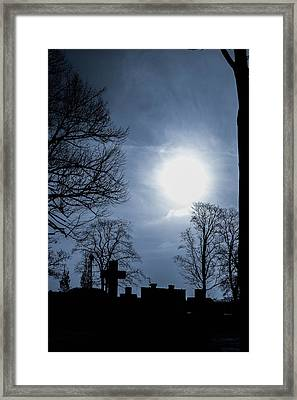 Silhouettes Of Trees And Crosses Framed Print by Toppart Sweden