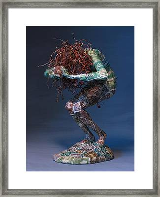 Blue Grapes Framed Print featuring the mixed media Silvan Offering A Sculpture By Adam Long by Adam Long